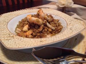 Ensopado de lentilhas com frutos do mar