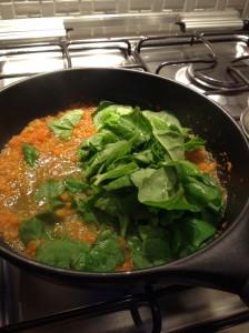 Molho de tomate com espinafre