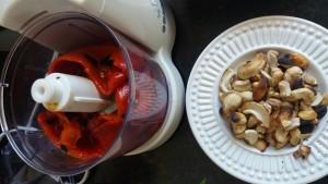 Pimentão assado e castanhas