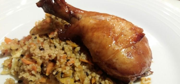 Coxas de frango assadas com shoyu e mel III